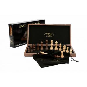 """Dal Rossi Chess Set, folding, walnut inlaid, 15"""" -0"""