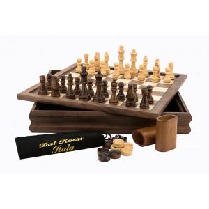 Flip Top Chess, Checkers, Backgammon. 14' with Walnut Finish -0