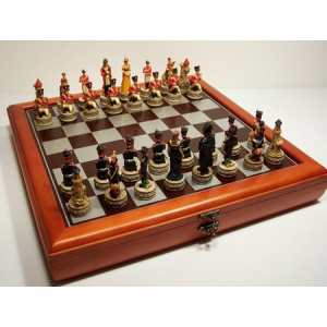 """""""Battle of Waterloo"""" Theme with 75mm pieces, 45cm Chess Set Board + Storage Box"""