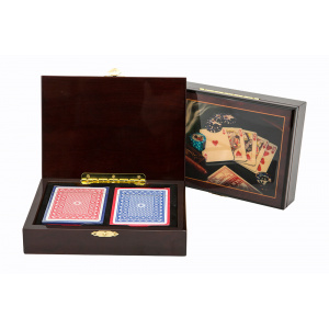 Dal Rossi Italy Wooden Cigar Box Design Playing Card Box Including Two Packs of Cards -0