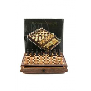 """Dal Rossi Italy Walnut Wooden Chess & Checkers Set 15"""" with drawers-0"""