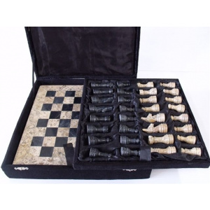 "Onyx 12"" Chess Set - Fossil & Black Onyx Chess Pieces-0"