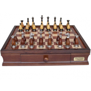 Dal Rossi Italy Metal & Wooden Staunton Chess Set with 40cm Chessbox with drawers - 2036DR-0