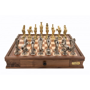 """Dal Rossi Italy """"Renaissance"""" Pewter Chess Set with 20"""" Chessbox with drawers - 2023DR -0"""