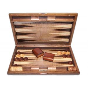 "Backgammon - Dal Rossi Italy Backgammon, walnut burl deluxe 19"""