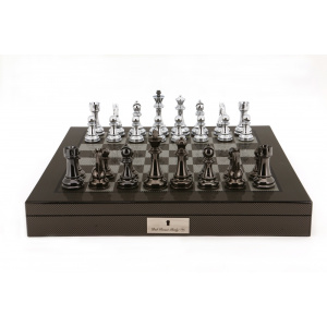 """Dal Rossi Italy Silver/Titanium Chess Set on Carbon Fibre Shiny Finish Chess Box 20"""" with compartments-0"""