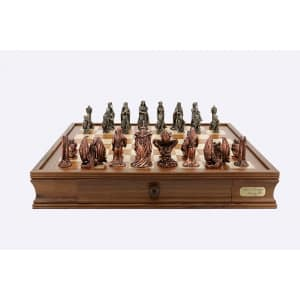 """Dal Rossi Italy Chess Set on a 20"""" chess box L Ring Metal Chessmen-0"""