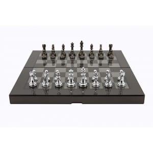 """Dal Rossi Carbon Fibre Finish Folding Chess Set, 16"""" -0"""