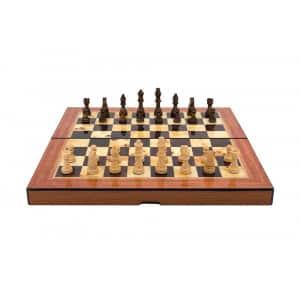 "Dal Rossi Walnut Shiny Finish Folding Chess Set, 16"" -0"