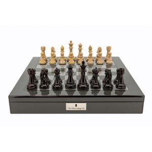 """Dal Rossi Italy Dark Red and Box wood Finish Chess Set on Carbon Fibre Shiny Finish Chess Box 20"""" with compartments Product code: L2066DR-0"""