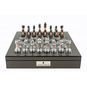 """Dal Rossi Italy Carbon Fibre Shiny Finish Chess Box 16"""" with Metal Marble Chess Pieces-0"""