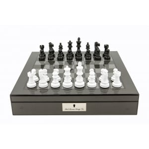 """Dal Rossi Italy Carbon Fibre Shiny Finish Chess Box 16"""" with Black and White Chess Pieces-0"""