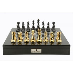 """Dal Rossi Italy Gold and Silver Double Weighted Chessmen set on a Carbon Fibre Shiny Finish Chess Box 20"""" with compartments PLEASE NOTE CHESS PIECES ARE GOLD AND SILVER-0"""