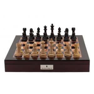 """Dal Rossi Italy Chess Box Mahogany Finish 20"""" with compartments with Dark Cherry and Box Wood Finish 101mm Double Weighted Chess Pieces-0"""