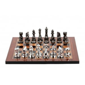 """Dal Rossi Italy Chess Set with Diamond-Cut Titanium & Silver 85mm chessmen on a Walnut Shiny Finish Chess Board 16"""" -0"""