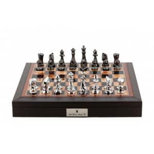 """Dal Rossi Italy Brown PU Leather Bevelled Edge chess box with compartments 18"""" with Diamond-Cut Titanium & Silver Finish Chessmen-0"""