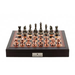 """Dal Rossi Italy Brown PU Leather Bevelled Edge chess box with compartments 18"""" with Diamond-Cut Copper & Bronze Finish Chessmen-0"""