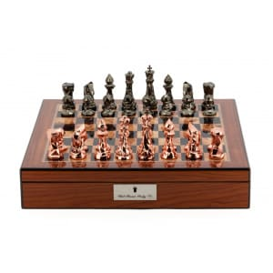"""Dal Rossi Chess Set With Diamond-Cut Copper & Bronze Finish 85mm Chessmen on Walnut Finish Chess Box 16"""" with compartments-0"""