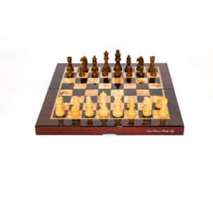 "Dal Rossi Mahogany Finish Folding Chess Set, 16"" -0"