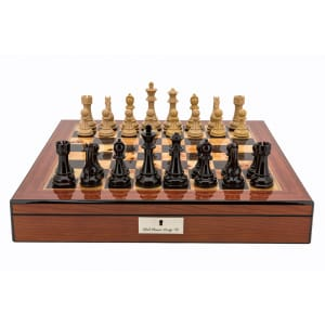 """Dal Rossi Italy Chess Box Walnut Finish 20"""" with compartments with Dark Cherry and Box Wood Finish 101mm Double Weighted Chess Pieces-0"""